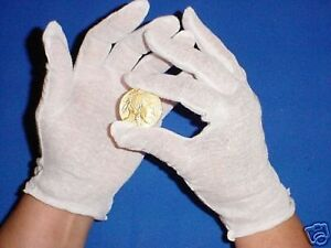 10 PAIR MENS COTTON LISLE COIN INSPECTION GLOVES JEWELRY GLOVE LINER GOLD FILM