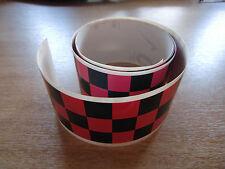Negro + rosa Checker Cinta - 4 Pies X 2 In - 3 Plazas / Chequer Stripe