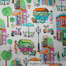 BonEful Fabric FQ Cotton Quilt Pink Euro City Girl Shop Apron Mod Scooter Flower
