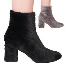 Ladies Womens Ankle Boots Block Heel Fluffy Fur Fashion Casual Shoes Size 3-8