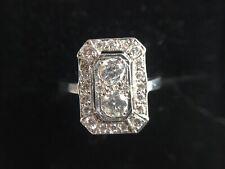 18ct Art Deco style  White Gold Diamond Plaque Ring