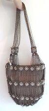 Kenny Ma Metal Mesh Swarovski Flower Beaded Handbag Purse Bag Bronze Clutch New