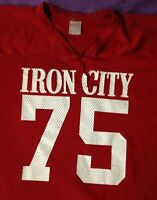 """vintage """"IRON CITY BEER"""" MESH FOOTBALL JERSEY MEN'S XL extra large RED #75 S/S"""