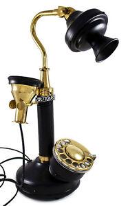 Retro Candlestick Telephone Black & Shiny Brass Decor Vintage  Telephone
