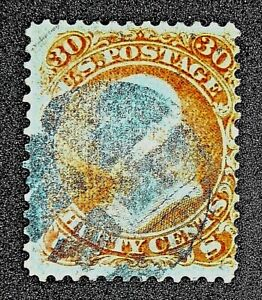 US SC 71 30 CENT FRANKLIN 1861 USED NO GUM CORK HAND CANCEL VERY FINE
