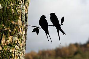 Barn swallows love birds metal tree art for the garden Steel Rusty Silver Copper