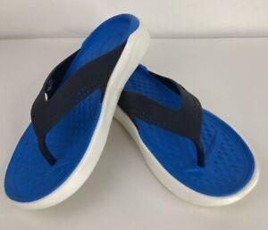 Crocs LiteRide Men's 9 / Women's 11 Flip Flops Black/Blue Comfort Sandals