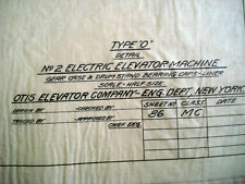Antique BLUEPRINT Otis Elevator, Gear Motor Electric Engineering Machine #86