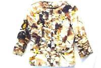 Women's Coldwater Creek Blazer Jacket Sz 4 Brown Black Floral Zip 3/4 Sleeve