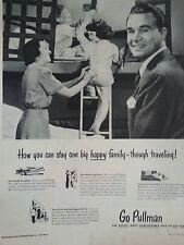 1949 Pullman Trains Happy Family Travel Children Bunk Beds Original Print