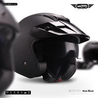 Moto S77 Matt-Black Jethelm Motorrad-Helm Roller-helm Police Vespa Scooter XS-XL