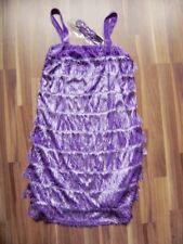 Charlstonkleid Kleid 20er Jahre lila Samt Fransen Stirnband Gr 42/44 Size XL/XXL