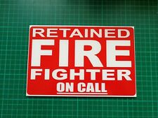 RETAINED FIREFIGHTER ON CALL Dashcard Univisor Fire 999 Fire Engine Dash Card