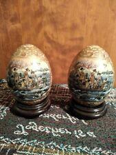 "SATSUMA Style  5"" Geisha Egg Hand Painted  Oriental Porcelain Gold Trim w/stands"