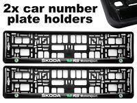 2 x Doming CAR Number Plate Surround Holder Frames BEST FIT for SKODA