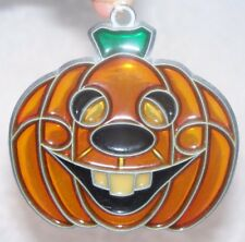VTG STAINED GLASS STYLE SMILING PUMPKIN HALLOWEEN WINDOW SUN CATCHER ORNAMENT