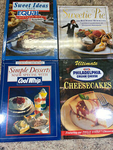 Lot 4 Dessert Cook Books Cool Whip, Equal, Richard Simmons Pie, Cream Cheese