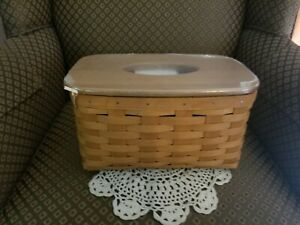 2013 Longaberger Family Tissue basket with Wood Crafts Lid~NEW WITH TAG