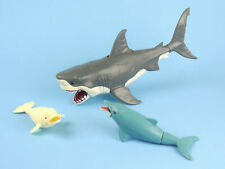 CHOMPING Great White Shark Action Figure Moving Jaw K&M Plastic DOLPHIN BELUGA