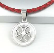 Silver Templar Cross Pearl Pendant Womens Mens Braided Red Leather Necklace