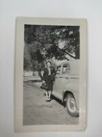 "Vintage B&W Snapshot Photograph of a Woman Standing Next to a Car 3""x4.5"""