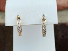 14K YELLOW GOLD CUBIC ZIRCONIA IN/OUT HOOPS