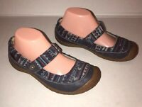 KEEN Sz 7 US Women's Harvest Mary Jane Blue Leather Button Comfort Shoes 1013706