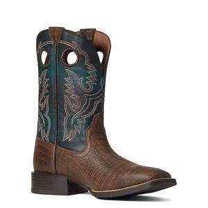 Ariat Men's Sport Buckout Deep Blue Croc Print Boots 10038501
