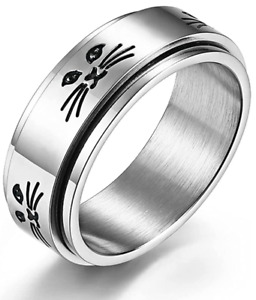 Cat Faced Anxiety Spinner Ring 8mm for Men and Women Fidget Thumb Ring