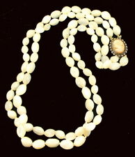 vintage mop mother of pearl oval lustrous beads shell cameo clasp necklace 24""