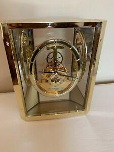 Seiko Quartz Lucite Brass Skeleton Mantle Clock QAW110G Made In Japan