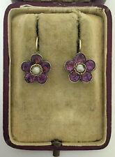 A Wonderful Pair Of Amethyst & Seed Pearl Earrings Circa 1800's