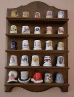 25 Vintage Porcelain thimbles + wooden wall display HIGHLY COLLECTIBLES 10%off