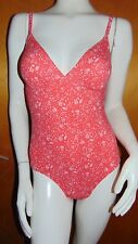 M&S 'Secret Slimming' Optional Padded 'Undersea' Plunge Swim Suit 8 Red Mix BNWT