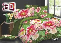 3D Green Floral Duvet Cover Set With Pillow Cases & Fitted Sheet All Sizes 1015