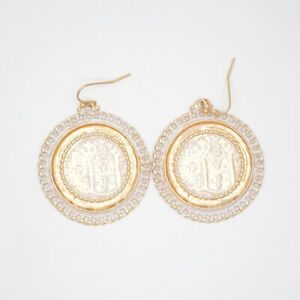 Chico's jewelry vintage matte gold tone large coins drop hoop earrings dangle