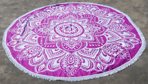 Pink Voilet Floral Round Tapestry Mandala Beach Throw Towel Roundie Table Cover