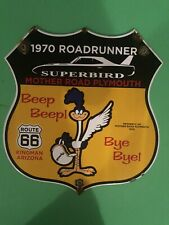 VINTAGE PORCELAIN PLYMOUTH ROADRUNNER GAS AND OIL SIGN