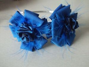 pretty royal blue ribbon flowers detail with headband /party wedding/occasion