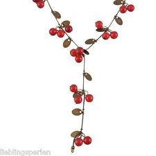 FL 1 Halskette Halsschmuck Kette Feder Anhänger Bronze Rot Kirschen 63cm NEU