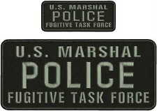 U.S. MARSHAL POLICE FUGITIVE TASK FORCE EMB PATCH 4.75x11 and 2x5 HOOK/BACK/gray