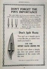 1917 Antique Dental Equiipment Art Davis Crown Pin Vintage Print Ad