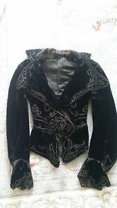 1980s Vintage Black Velvet Peplum Jacket Encrusted in Sparkling Rhinestones! After Five by Julie Duroch\u00e9