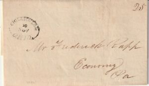 CHILLICOTHE, OHIO 1826 Stampless Folded Letter to ECONOMY, PA.