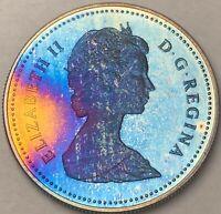 1982 CANADA SILVER DOLLAR PROOF GEM MONSTER BLUE TONED COLOR CHOICE BU UNC (DR)