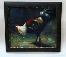Original painting of rooster contemporary impressionist, unsigned, nicely framed
