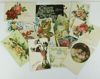 Vintage 1900's Victorian Postcards 15pc Lot Flowers Roses Greetings Good Luck