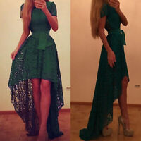 Women Green Lace Asymmetric Ball Prom Gown Belted Cocktail Bridesmaid Long Dress