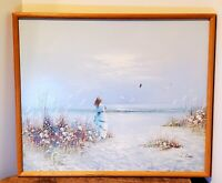 Vintage Seascape Oil on Canvas Painting - Beach Scene, Signed and Framed