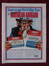 1975 Print Ad Superscope Recording Tape ~ UNCLE SAM Bargain w/ Peter Palombi Art